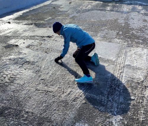 Runner Falling On Ice